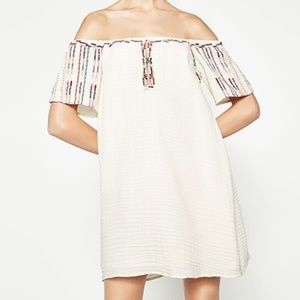 Zara off the shoulder embroidered dress